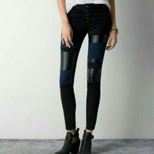 AEO American Eagle Moto High Rise Jeggings Patch